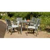 ensemble maracaibo 1 table 150 6 fauteuils coussins ecru exklusive hevea 11275 3663141