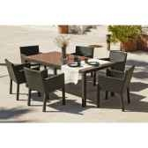 ensemble salermo table 200 6 fauteuils 75 avec coussins ecru exklusive hevea 11276 3663141