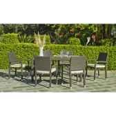 ensemble salermo table 160 6 fauteuils 70 avec coussins ecru exklusive hevea 11277 3663141