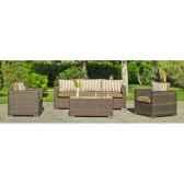 ensemble casanova 8 1 sofa 3p2 fauteuils 1 table centrale basse coussins assise marron coussin dossier raye marron e