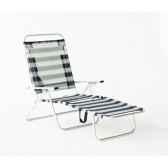 segura 175 chaise longue de plage pliable multipositions longueur 145 185cm hauteur 100cm couleur raye bleu lot de 2 lid