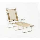 segura 175 chaise longue de plage pliable multipositions longueur 145 185cm hauteur 100cm couleur beige lot de 2 lido by