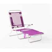 segura 175 chaise longue de plage pliable multipositions longueur 145 185cm hauteur 100cm couleur fuschia lot de 2 lido