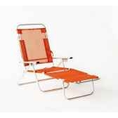 segura 175 chaise longue de plage pliable multipositions longueur 145 185cm hauteur 100cm couleur orange lot de 2 lido b