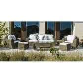 salon haut de gamme borsalino s10 canape 3p2 fauteuils 2 poufs 1 table basse coussin marron nabab 10090 3663141