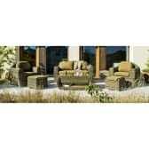 salon haut de gamme borsalino s9 canape 2p2 fauteuils 2 poufs 1 table basse coussin marron nabab 10092 3663141
