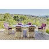 ensemble haut de gamme atlanta m6 table 6 chaises coussin blanc nabab 10106 3663141