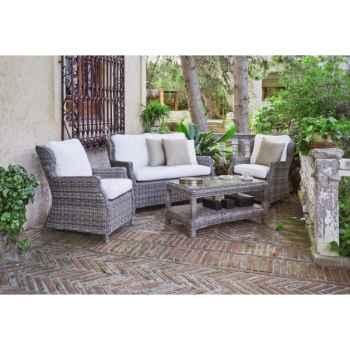 Salon haut de gamme tunez 7 : 1 canapé 2pl + 2 fauteuils + 1 table basse coussin ecru Nabab -10107-8430095