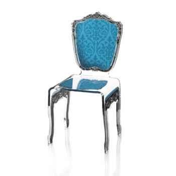 Chaise baroque bleue Acrila - 0003