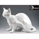 objet decoration shadow chat blanc nacre x2 edelweiss c2033