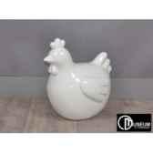 objet decoration color poule rde blanc 34cm x2 edelweiss c9132
