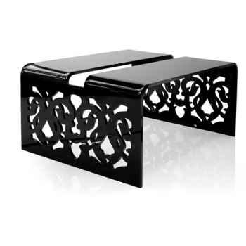 Table contemporaine basse dentelle noire Acrila - 0035