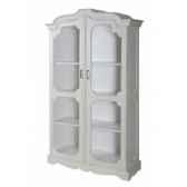 vitrine 2 portes grillagees blanc patine antic line cd197