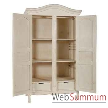 "Armoire 2 portes ""provence\"" blanc patiné Antic Line -CD210"