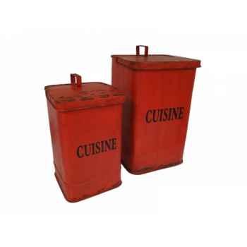 """Set de 2 poubelles rouge \""""cuisine\"""" Antic Line -SEB13832"""