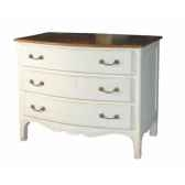commode languedoc 3 tiroirs blanc patine plateau cire antic line cd324
