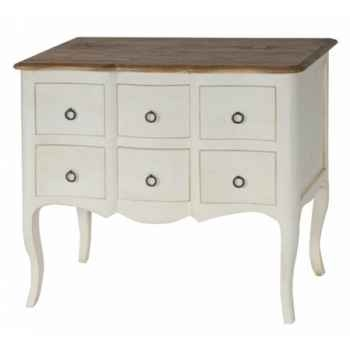 "Commode ""ile de france\"" 6 tiroirs blanc patiné-plateau ciré Antic Line -CD178"