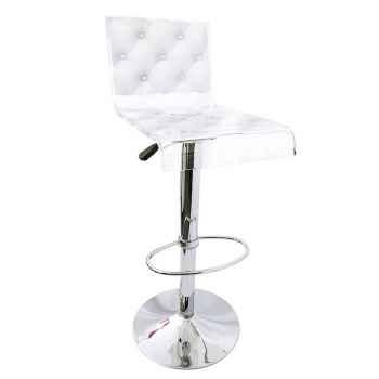 Tabouret design capiton blanc Acrila - 0024