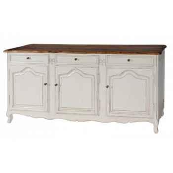 Enfilade 3 portes + 3 tiroirs (blanc patiné-plateau ciré) Antic Line -CD172