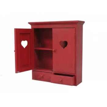 Armoirette 2 portes + 2 tiroirs rouge Antic Line -SEB13441