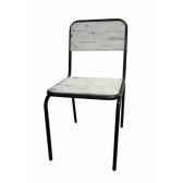 chaise industrielle fer et bois blanc use dossier plein antic line cd505