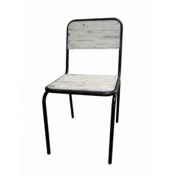 Chaise industrielle fer et bois blanc usé - dossier plein Antic Line -CD505