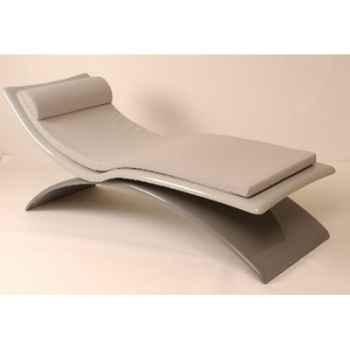 Chaise longue design Vagance grise matelas gris Art Mely - AM04