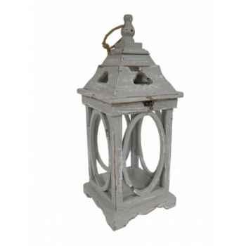 Lanterne bois grise Antic Line -SEB13691