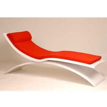 Chaise longue design Vagance blanche matelas rouge  Art Mely - AM06