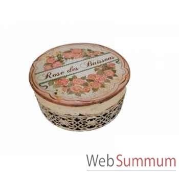"Boîte en fer \""roses des buissons\"" Antic Line -SEB13818"