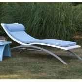 chaise longue design vagance blanche matelas bleu clair art mely am10