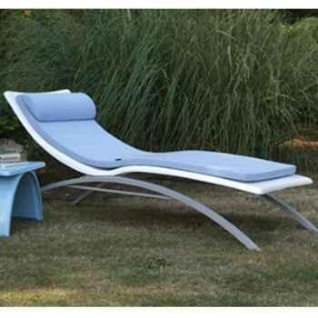 Chaise longue design Vagance blanche matelas bleu clair Art Mely - AM10