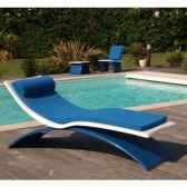 chaise longue design vagance blanche matelas bleu fonce art mely am11