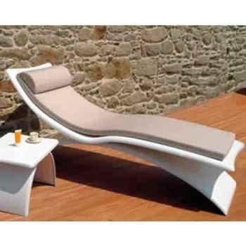 Chaise longue design Vagance grise matelas blanc Art Mely - AM12