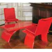 table basse design rouge art mely am14