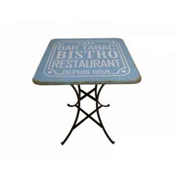 Table de pub bleue vintage Antic Line -SEB13538