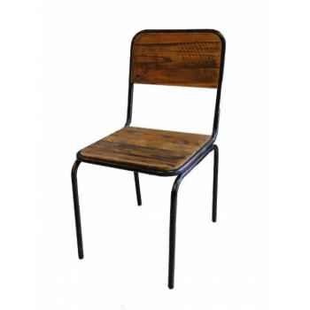 Chaise industrielle fer et bois dossier plein Antic Line -CD501