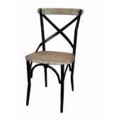 chaise industrielle fer et bois blanche dossier ouvert antic line cd506