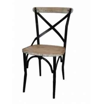 Chaise industrielle fer et bois blanche dossier ouvert Antic Line -CD506