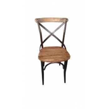 Chaise industrielle fer et bois dossier ouvert Antic Line -CD502