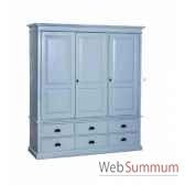 armoire 3 portes 6 tiroirs antic line cd555