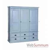 armoire 3 portes 6 tiroirs antic line cd555
