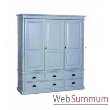Armoire 3 portes + 6 tiroirs Antic Line -CD555