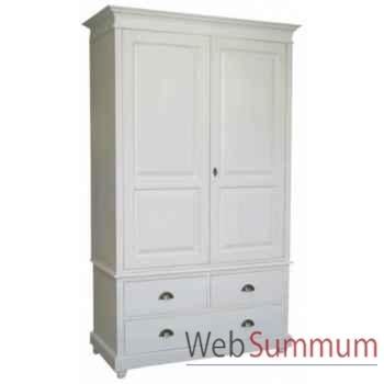 Armoire 2 portes + 3 tiroirs (poignées coquilles) Antic Line -CD295