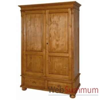 Armoire droite 2 portes + 2 tiroirs 1/2 penderie 1/2 étagère Antic Line -T102