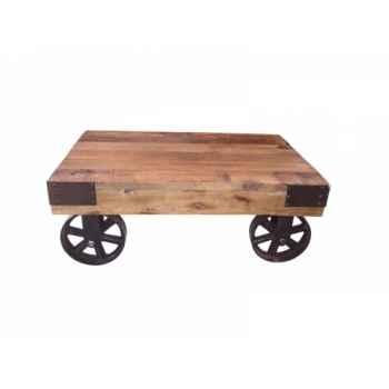 Table de salon à roulettes 76 x 50 x 30 Antic Line -CD494