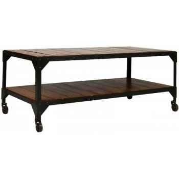 Table de salon fer et bois double plateau ciré antique Antic Line -CD390