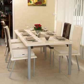 Table repas design Saint Tropez blanche pieds laqués Art Mely - AM27