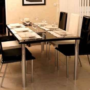 Table repas design Saint Tropez noire pieds chromés Art Mely - AM26