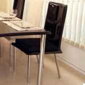 chaise haute design saint tropez noire coussin noir pieds chromes art mely am30